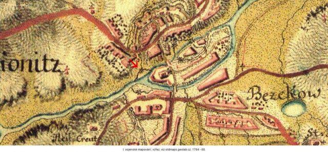 Pětikolský mlýn v mape