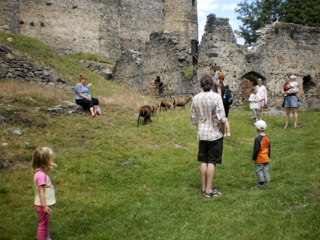 plac s návštěvníky a místními kozami